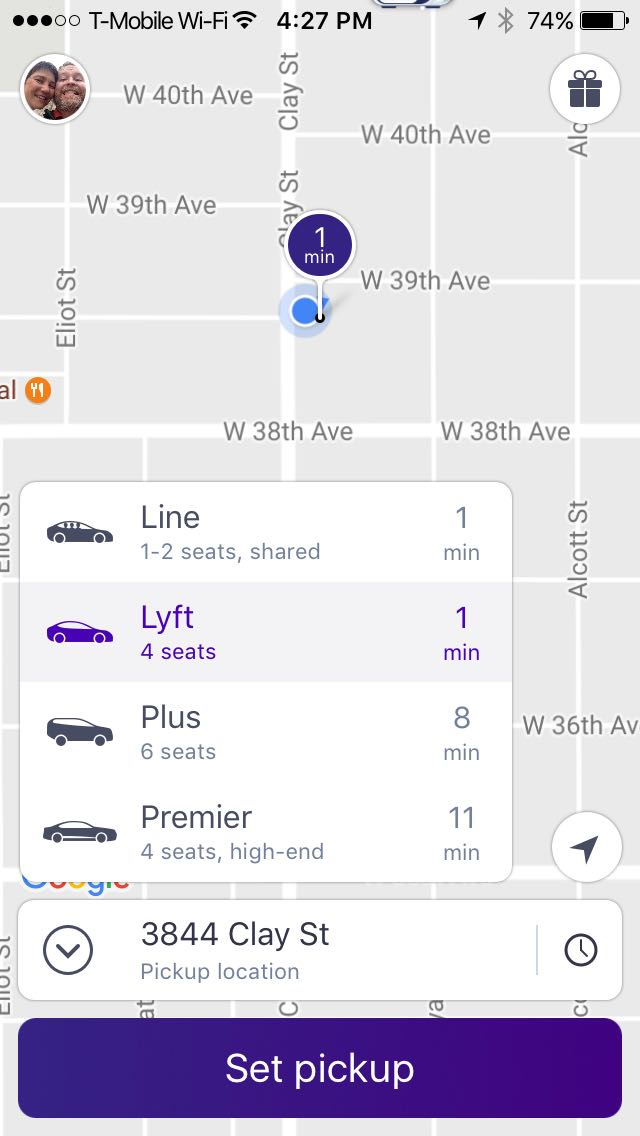 Lyft Home Screen