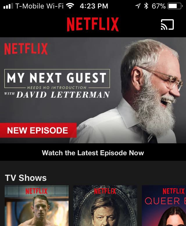 Screen shot of the Netflix mobile app.