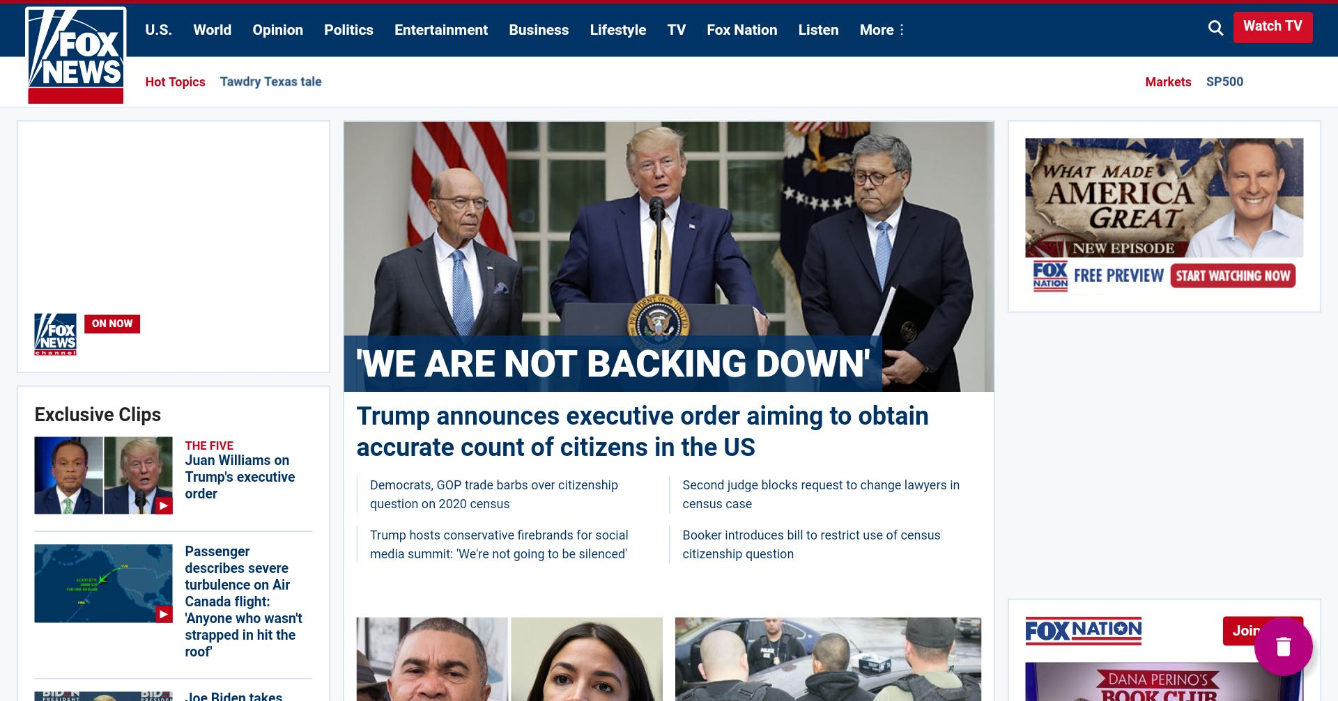 The Fox News home page on July 7, 2019