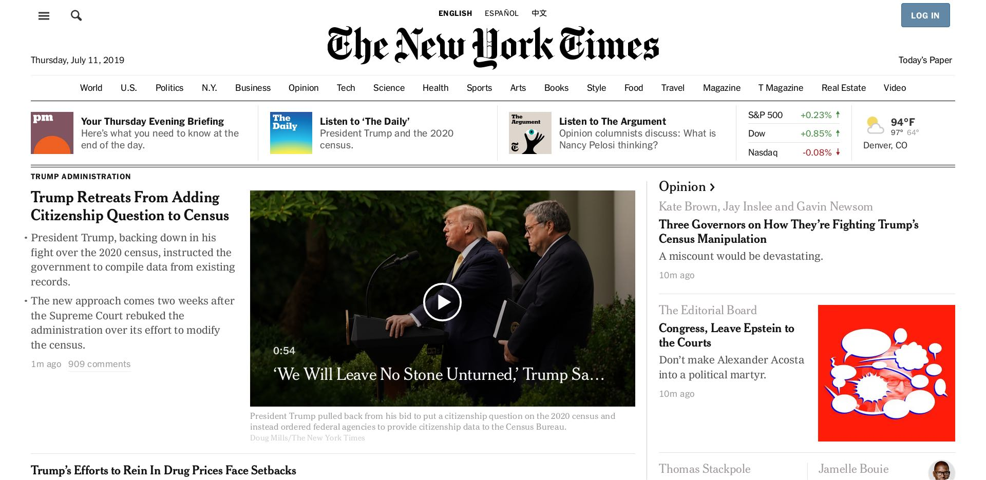 The New York Times home page on July 7, 2019