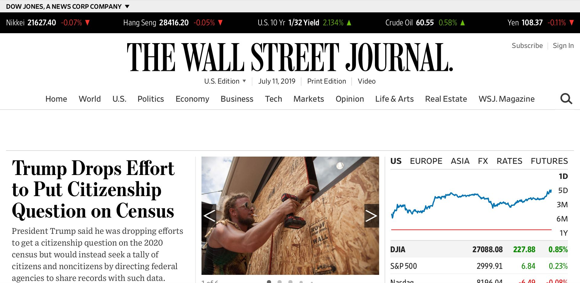 The Wall Street Journal home page on July 7, 2019