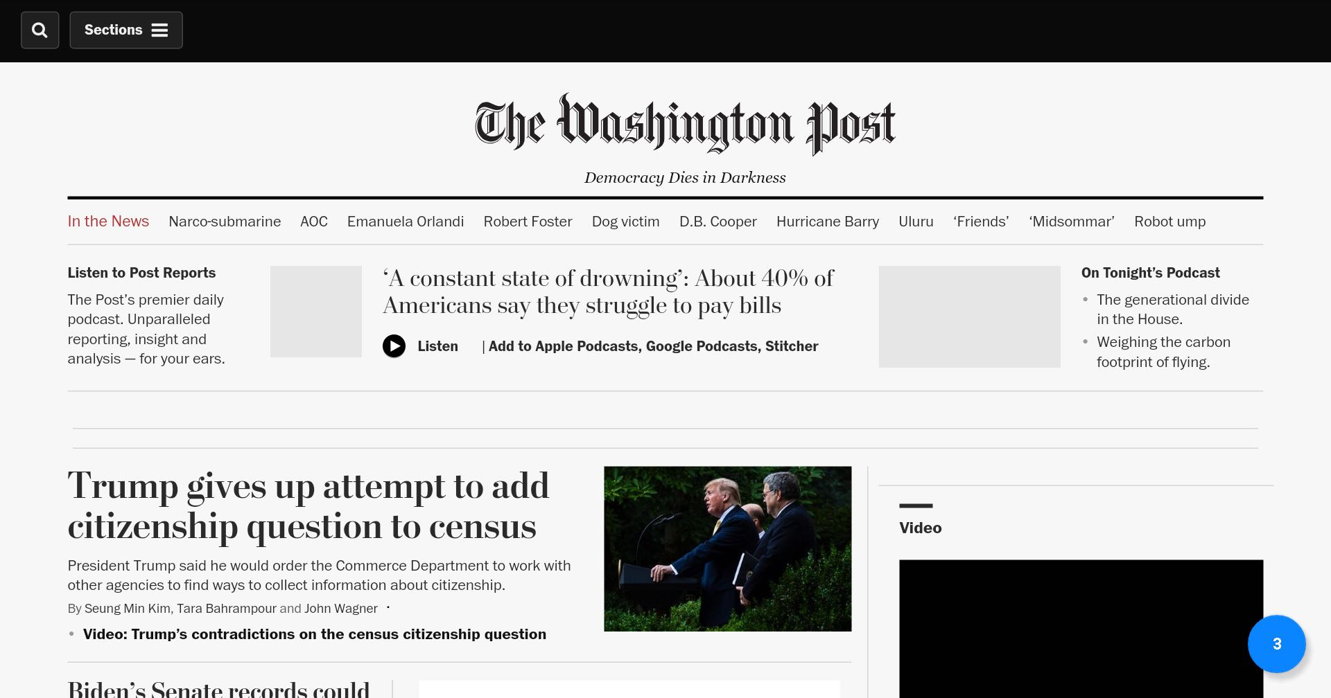 The Washington Post home page on July 7, 2019