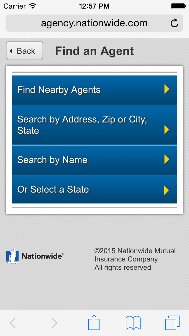 home page of the mobile locator