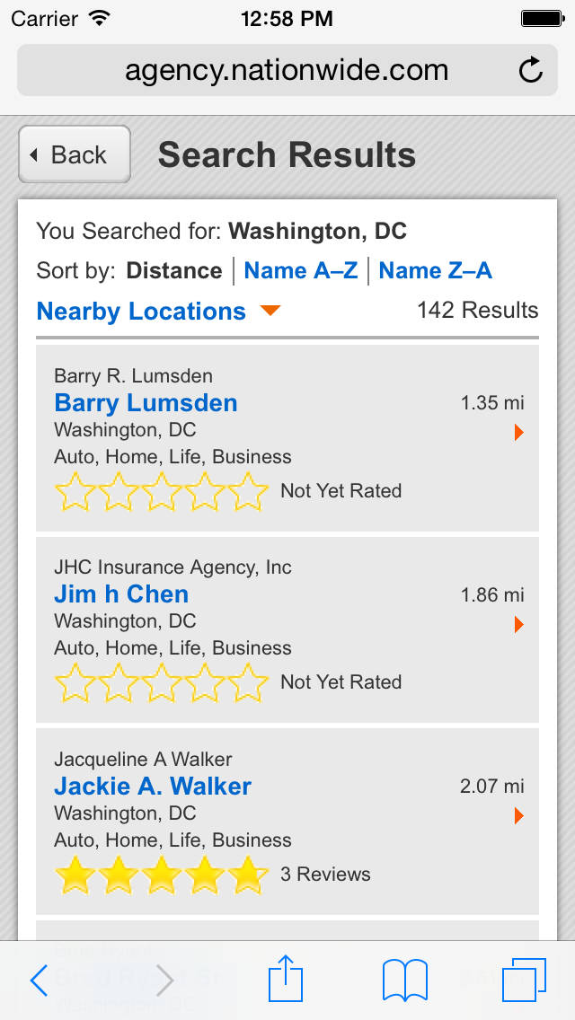 results page of the mobile locator