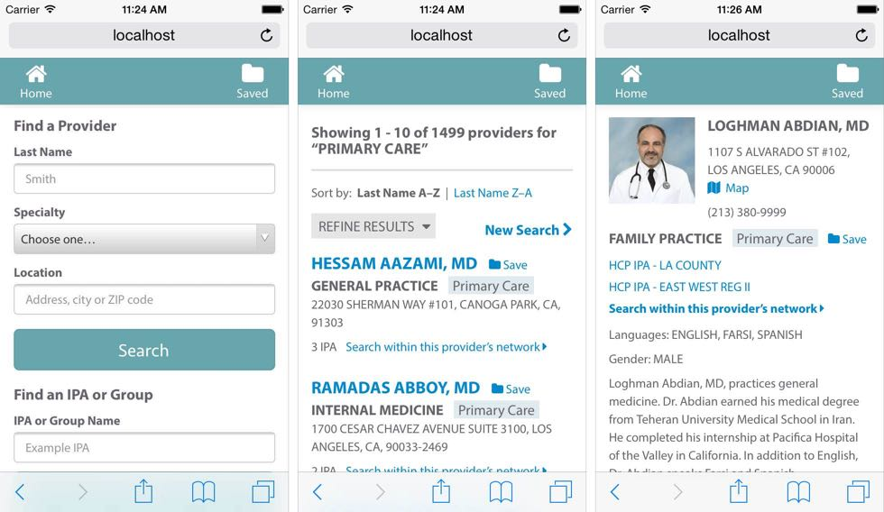Physician Locator showing three mobile pages